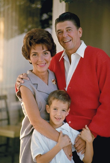 Nancy Reagan Wearing Coral Brooch