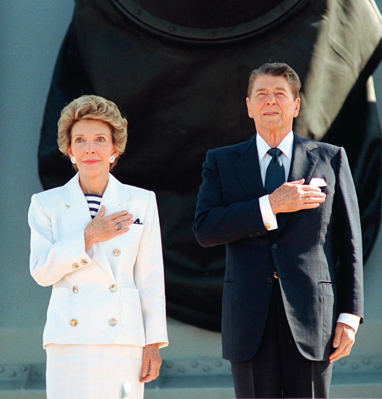 Nancy Reagan Wearing Flag Ring