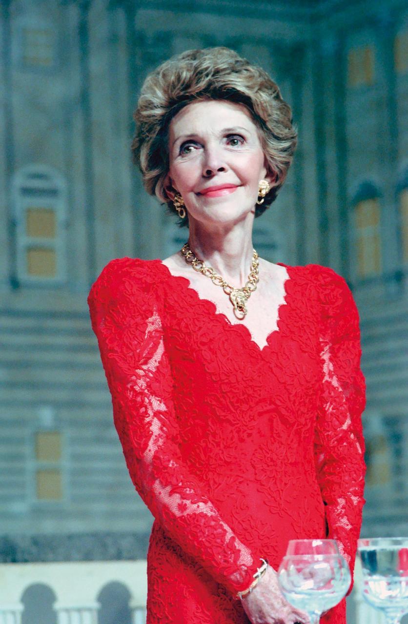 Nancy Reagan Wearing Lion Necklace
