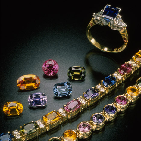 Sapphires and diamonds (ring and two bracelets). Michael Schofield.
