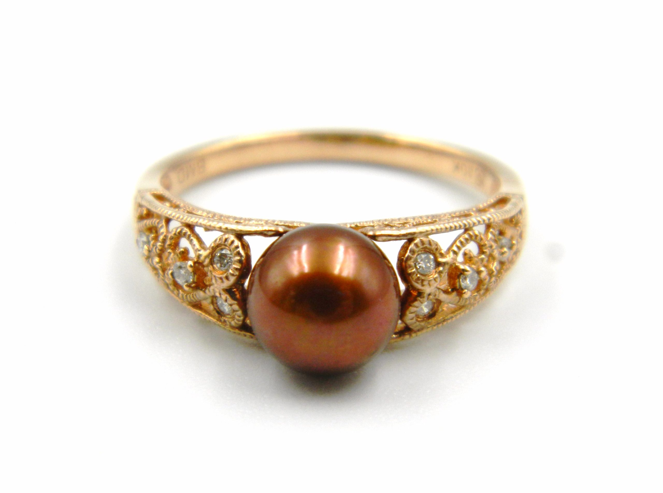 Rose Gold Chocolate Pearl Fashion Ring
