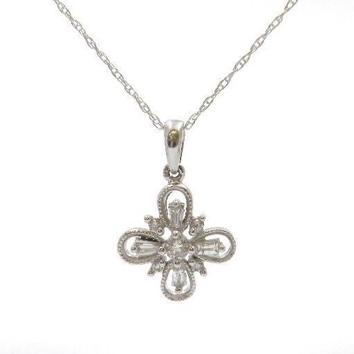 White Gold Diamond Floral Pendant