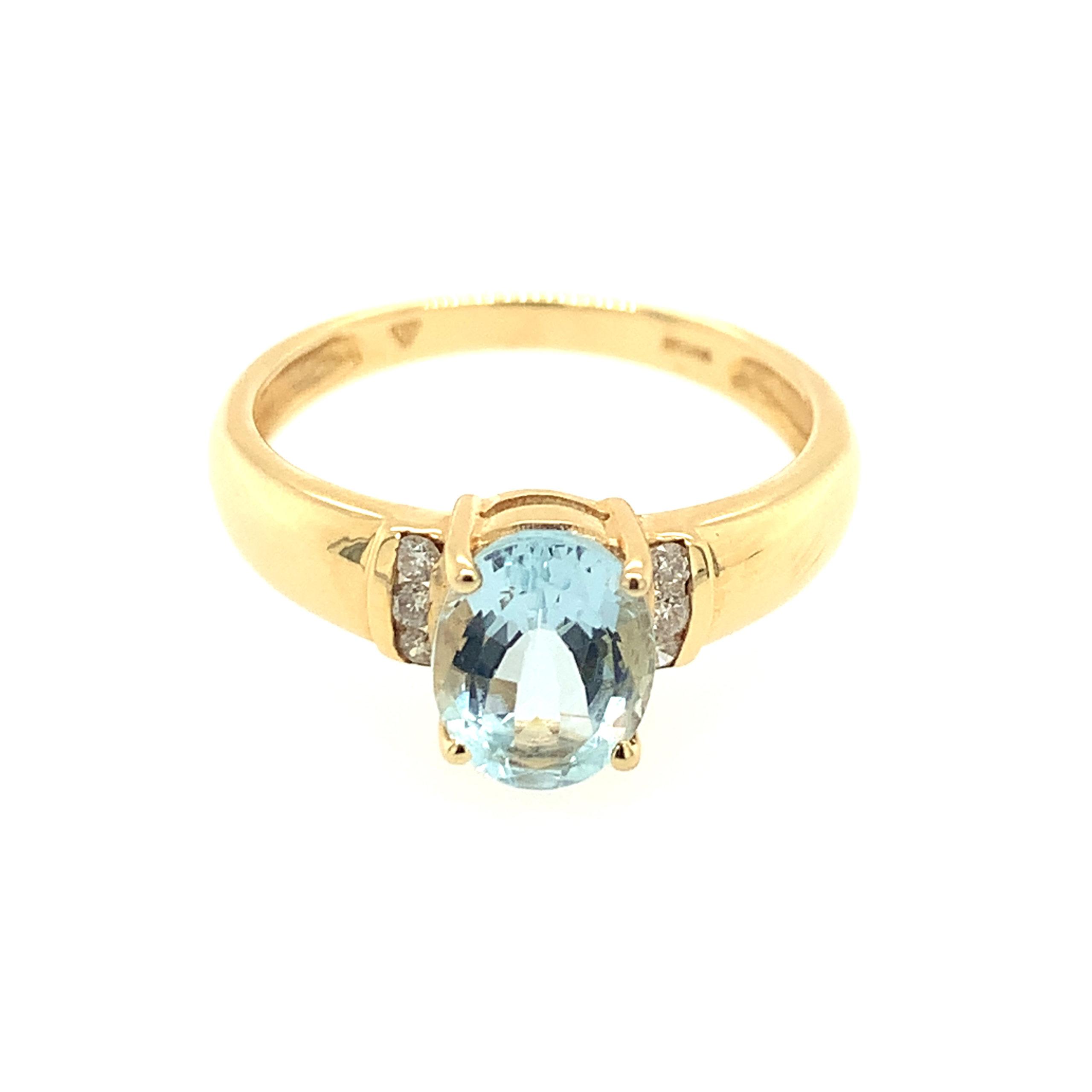 Yellow Gold Aquamarine Ring