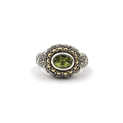 Sterling Silver & Yellow Gold Peridot Ring