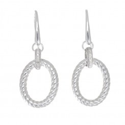 Rhodium Plated Sterling Silver Oval Drop Earrings with Diamond Accents