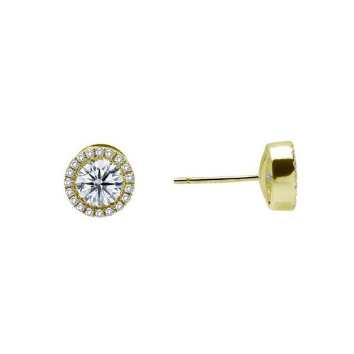 Lafonn Yellow Gold-Plated Simulated Diamond Studs with Halo