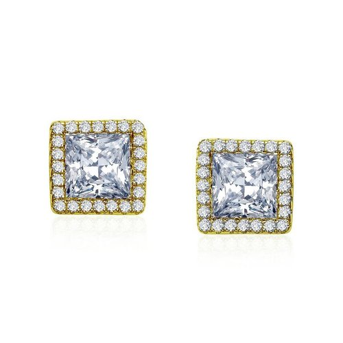 Princess Cut Gold Studs with Halo