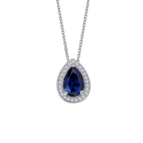 Pear Created Sapphire Pendant