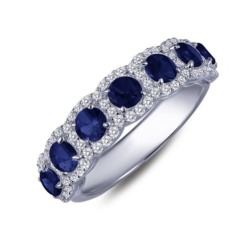 Seven Stone Created Sapphire Band