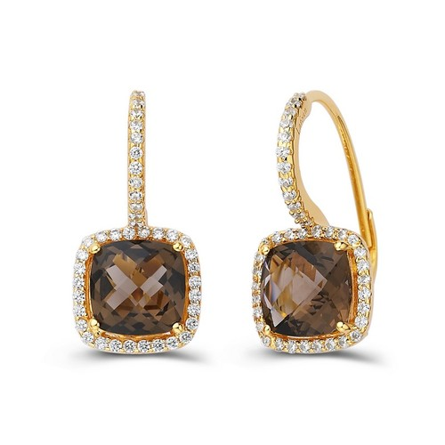Gold Cushion Cut Smoky Quartz Dangle Earrings with Halo