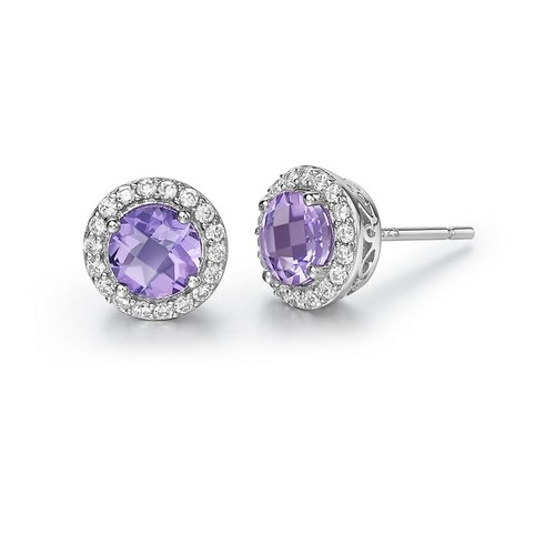Round Amethyst Studs with Halo