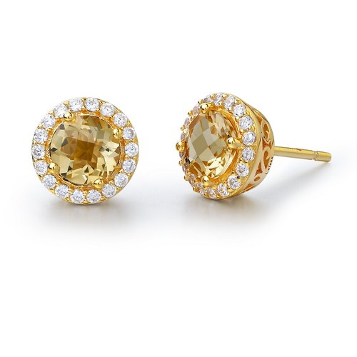 Gold Round Citrine Studs with Halo
