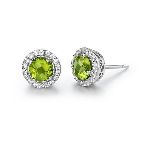 Round Peridot Studs with Halo