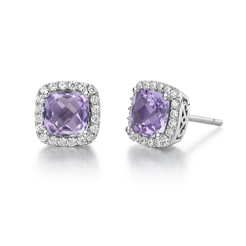 Cushion Cut Amethyst Studs with Halo