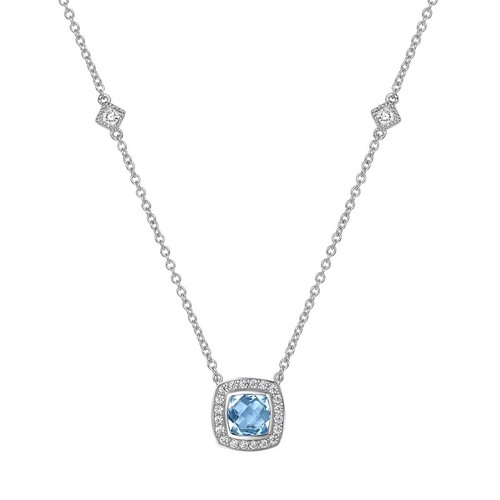 Cushion Cut Blue Topaz Halo Necklace with Station Accents