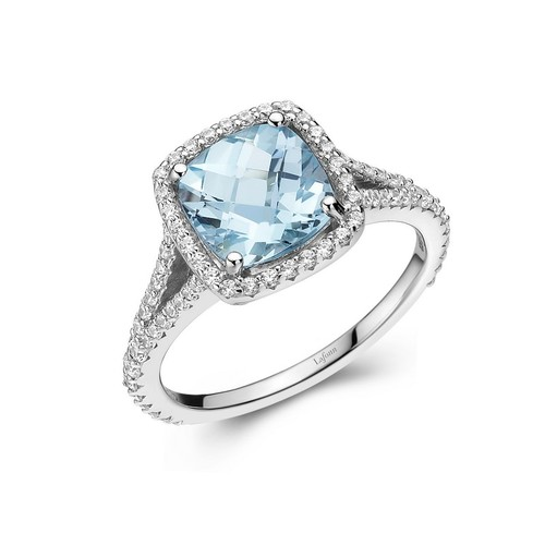 Cushion Cut Blue Topaz Halo Ring