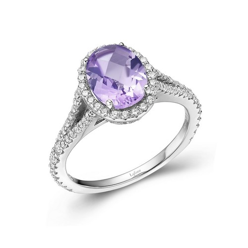 Oval Amethyst Halo Ring