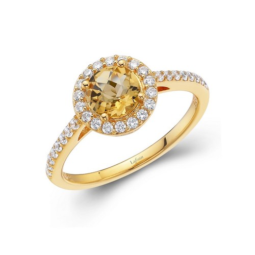 Gold Round Citrine Halo Ring