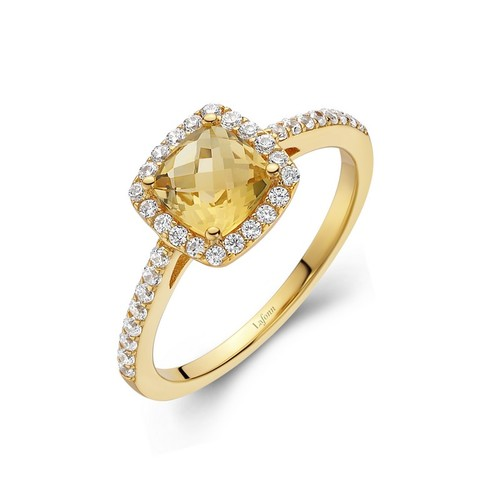 Gold Cushion Cut Citrine Halo Ring