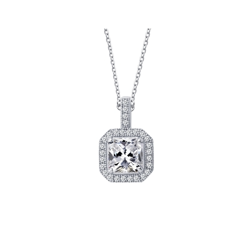 Princess Cut Pendant with Halo