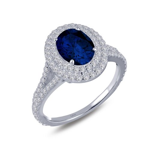 Oval Created Sapphire Double Halo Ring