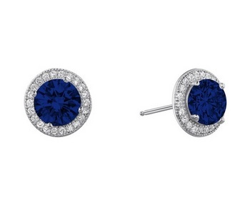 Round Created Sapphire Studs with Halo