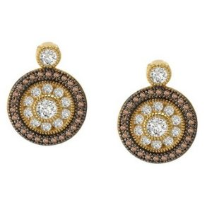 Gold Clear and Chocolate Diamond Fashion Earrings