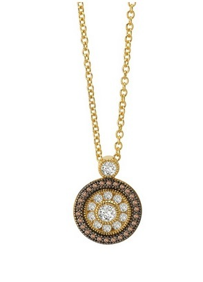 Gold Clear and Chocolate Simulated Diamond Halo Pendant on Chain