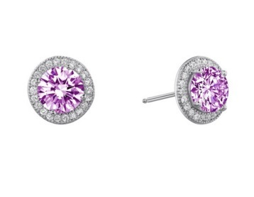 Round Lab Created Pink Sapphire Studs with Diamond Halo