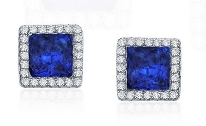 Small Square Created Sapphire Studs with Halo