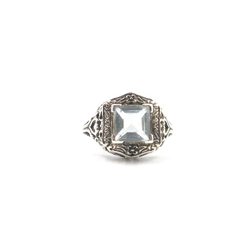 Sterling Silver Antique-Inspired Aquamarine Ring