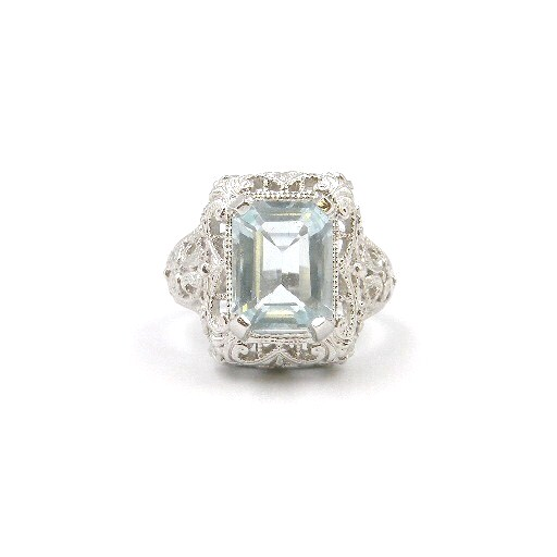 Sterling Silver Antique-Inspired Blue Topaz Ring