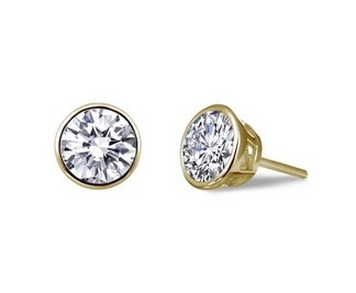 Gold Small Bezel-Set Solitaire Round Studs