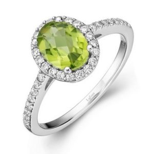 Oval Peridot Halo Ring
