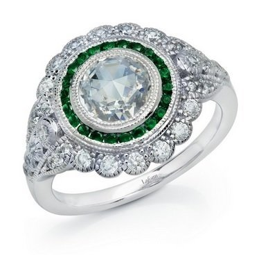 Art Deco Inspired Fashion Ring with Emerald Accents