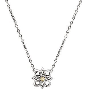 Sterling Silver and Yellow Gold Flower Necklace with Diamond