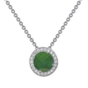 Created Emerald Round Pendant