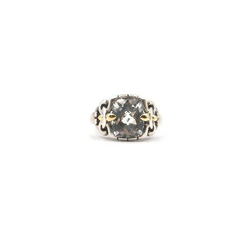Sterling Silver & Yellow Gold Fleur-De-Lis Green Amethyst Ring
