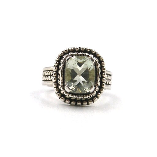 Antique-Inspired Sterling Silver Green Amethyst Ring