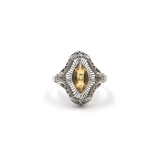 Sterling Silver Antique-Inspired Citrine Ring