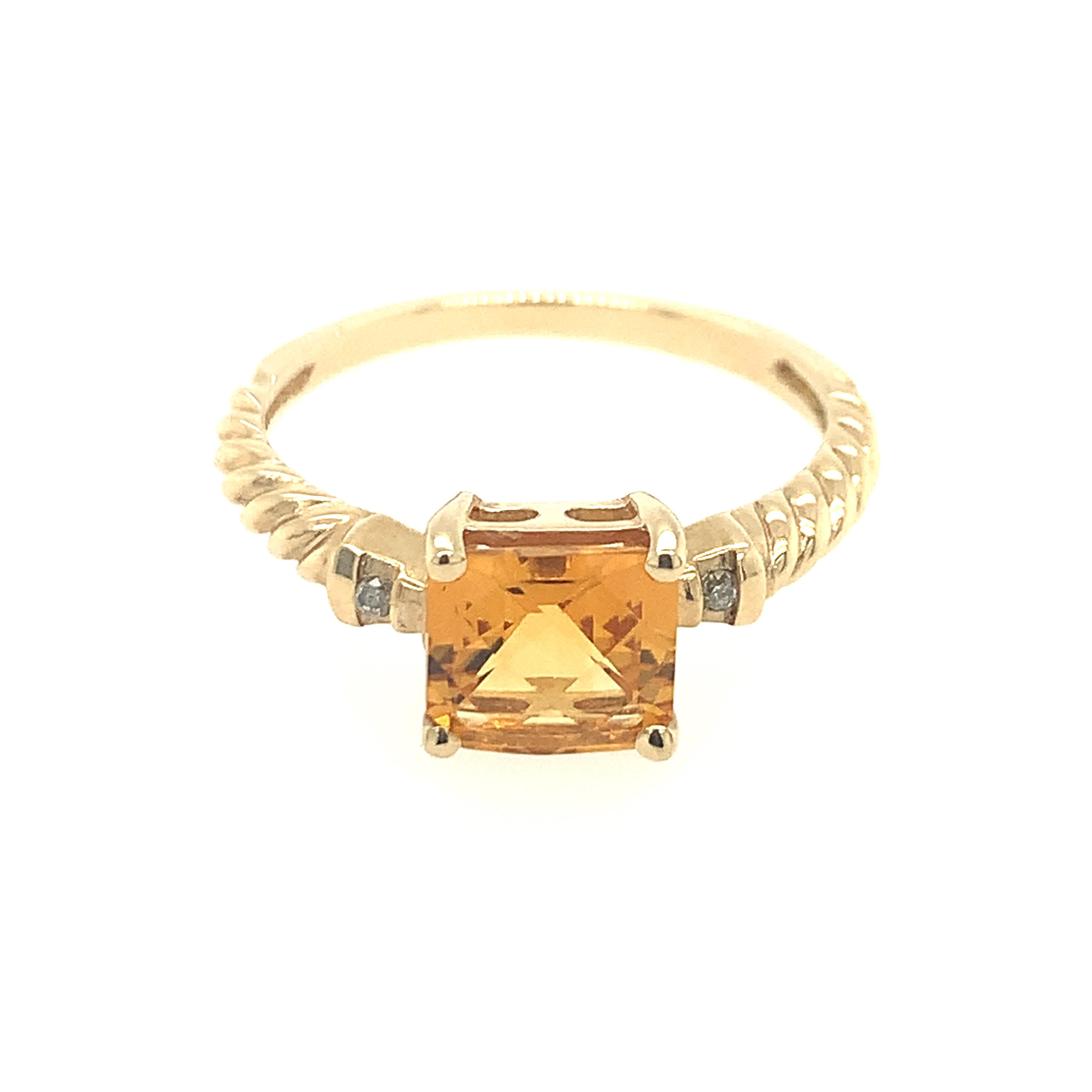Yellow Gold Citrine Rope Ring
