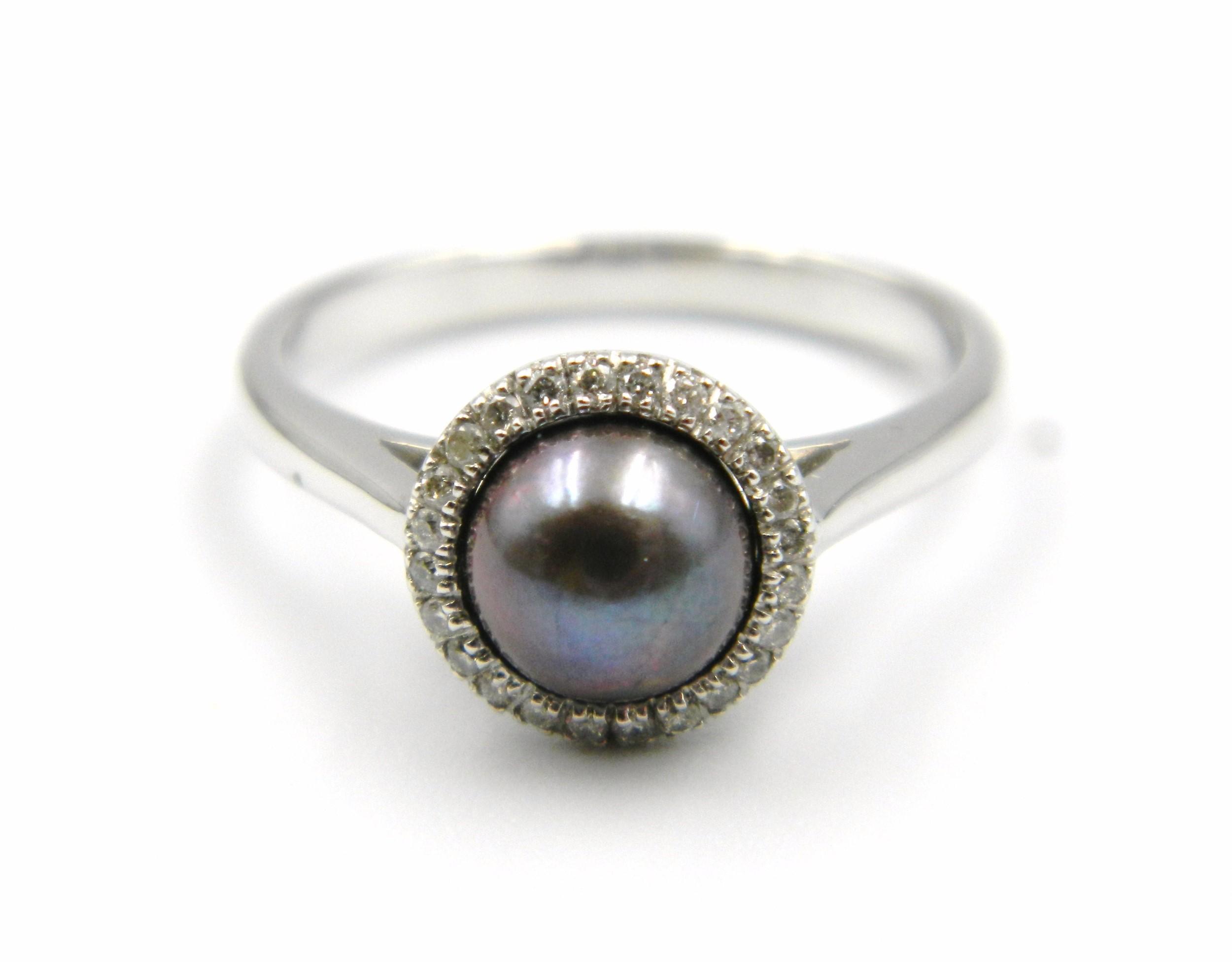 White Gold Black Pearl Ring
