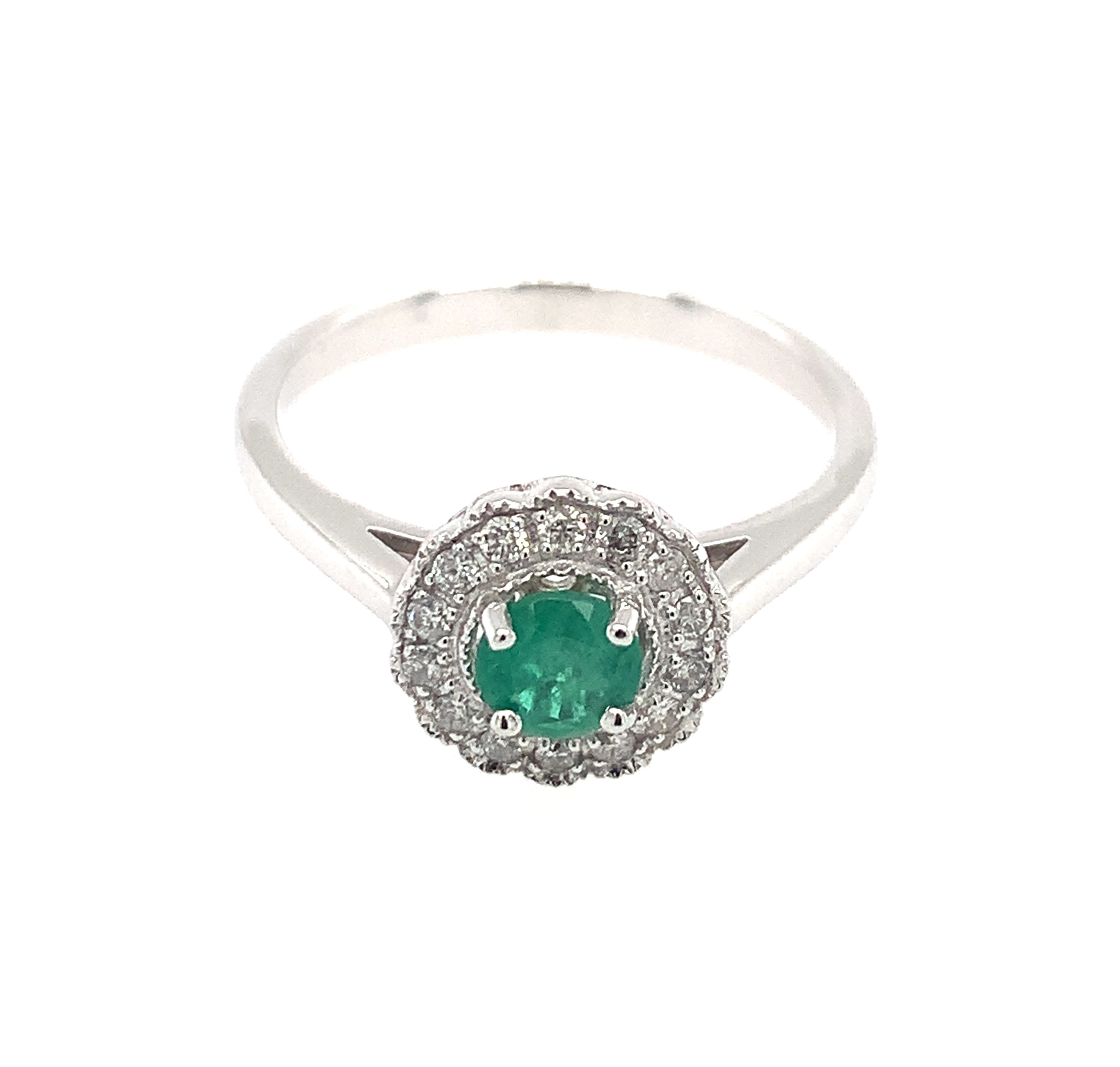 White Gold Round Emerald Ring