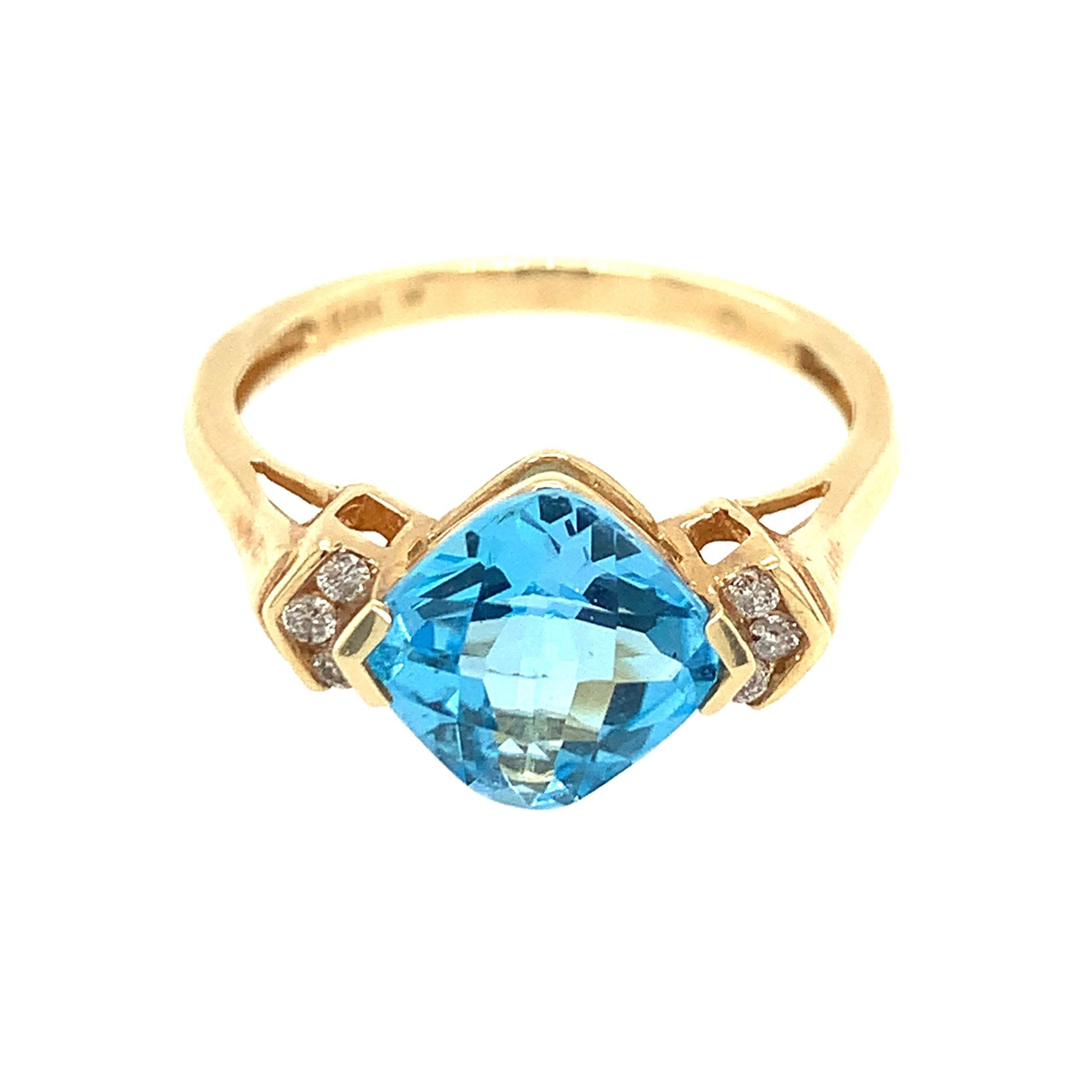 Yellow Gold Blue Topaz Ring