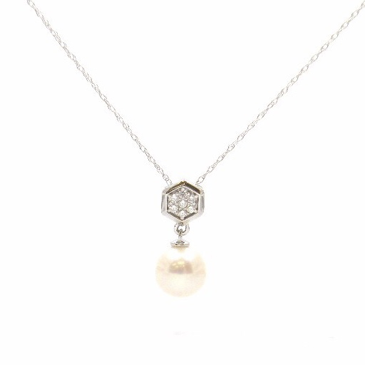 White Gold Pearl Pendant Necklace