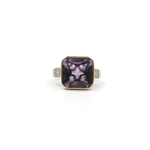 Sterling Silver & Yellow Gold Amethyst Ring