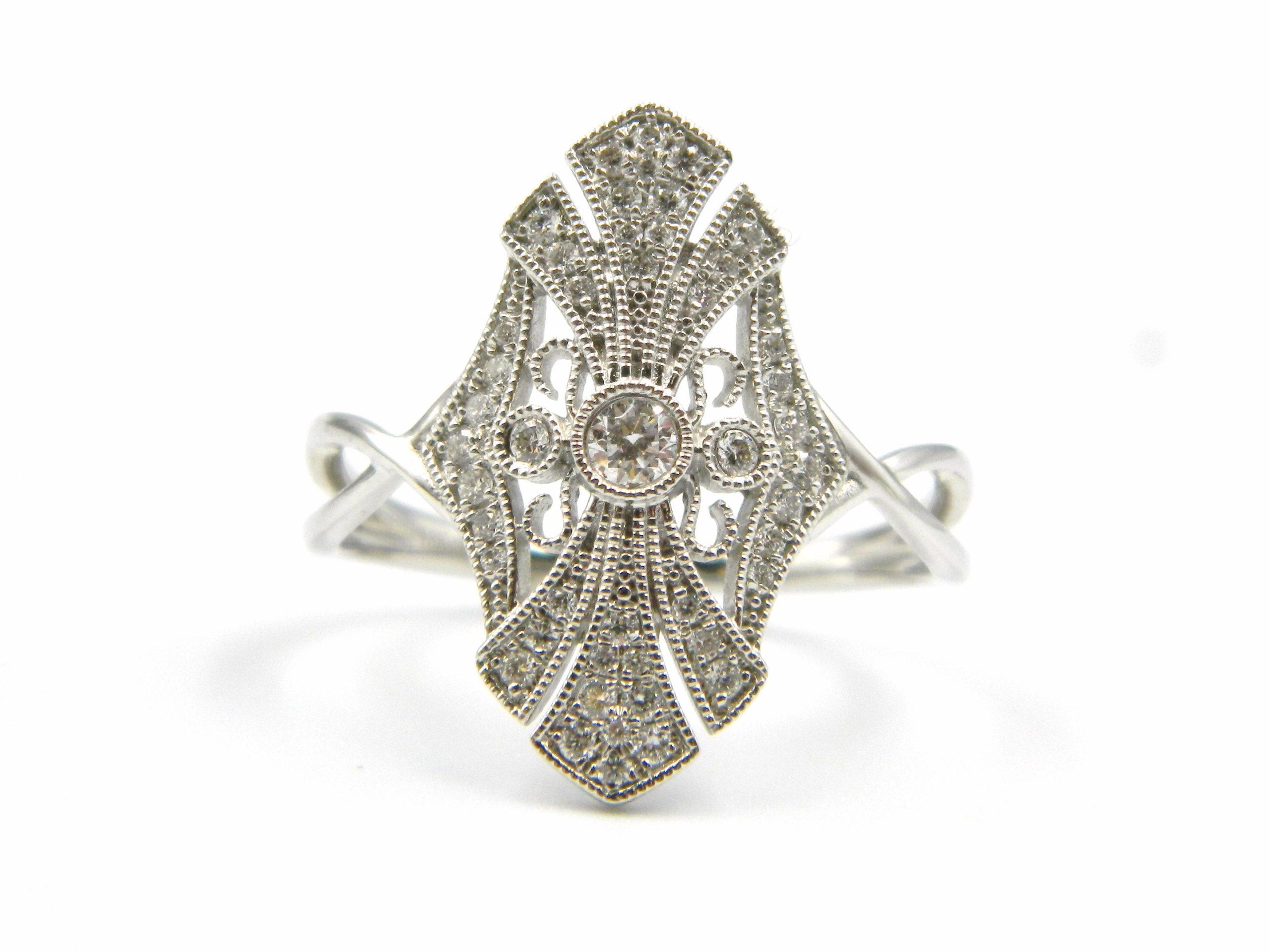White Gold Antique-Inspired Diamond Ring