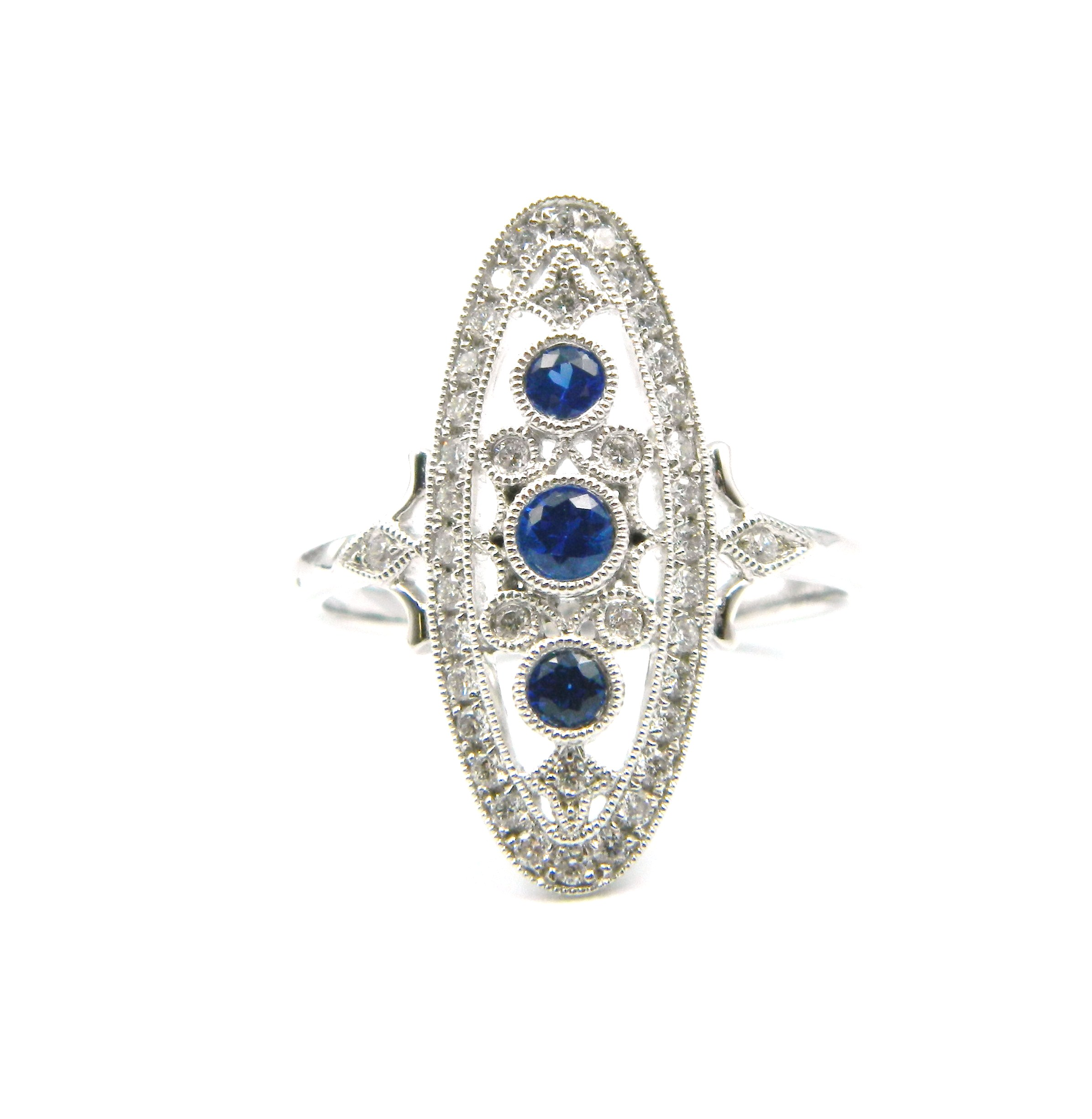 White Gold Antique-Inspired Sapphire Ring