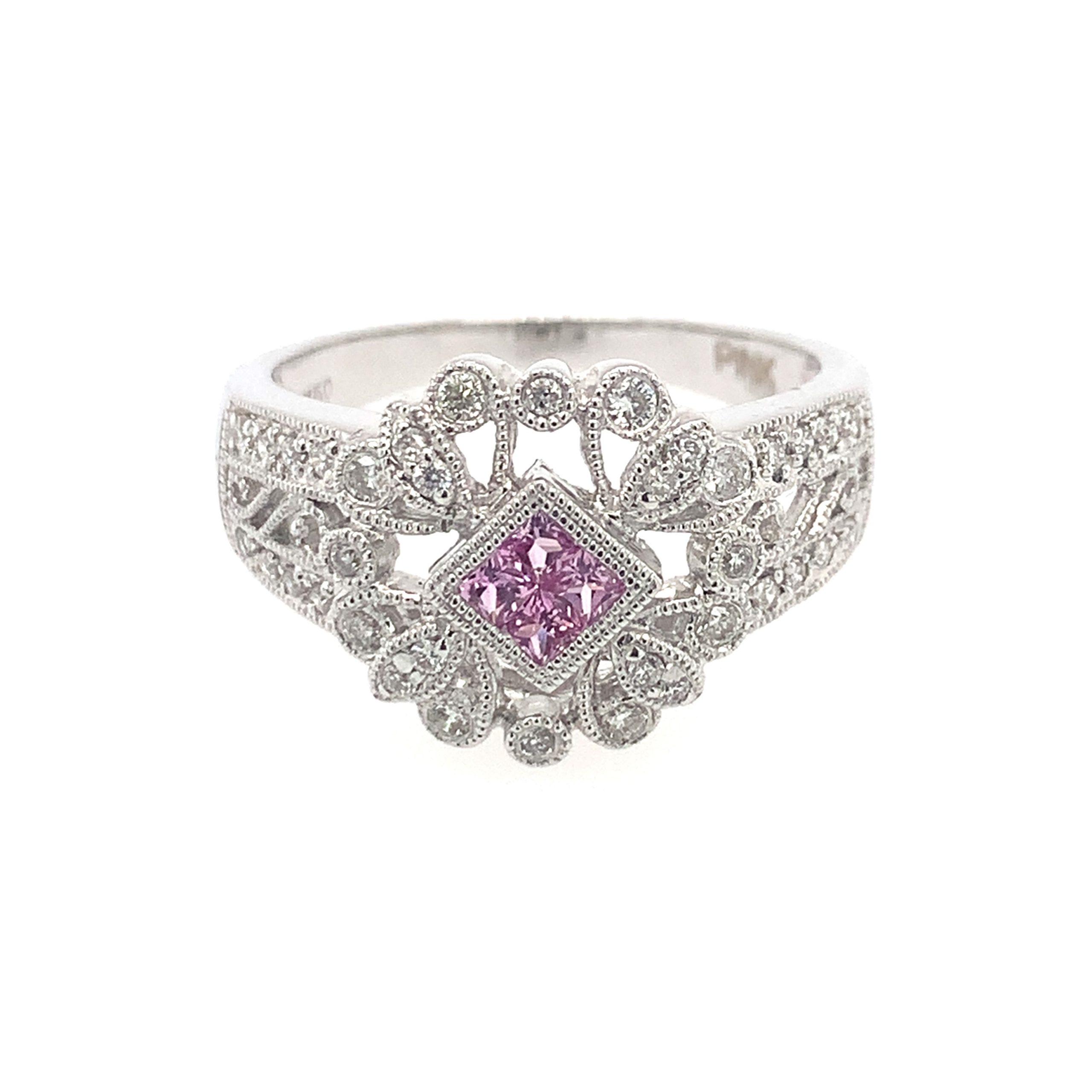 White Gold Antique-Inspired Pink Sapphire Ring