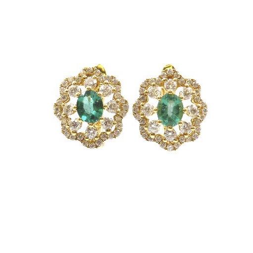 Yellow Gold Emerald Post Earrings